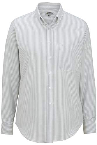 5077 Stripe - Edwards Ladies' Long Sleeve Oxford Shirt Small Grey Stripe