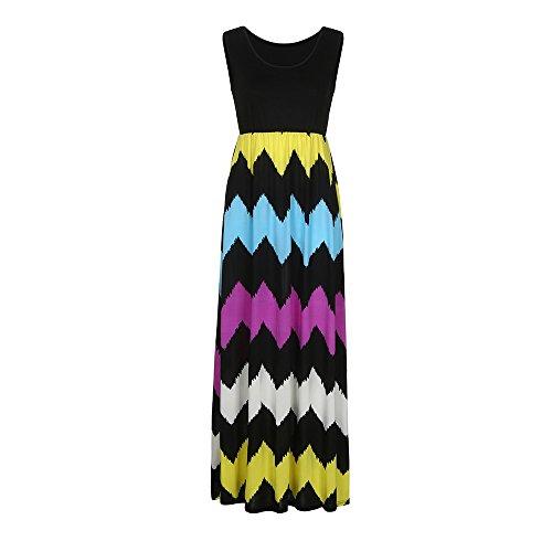 (Rakkiss Womens Summer Striped Print Loose Maxi Dress Contrast Sleeveless Tank Top Floral Print Long Maxi Dresses)