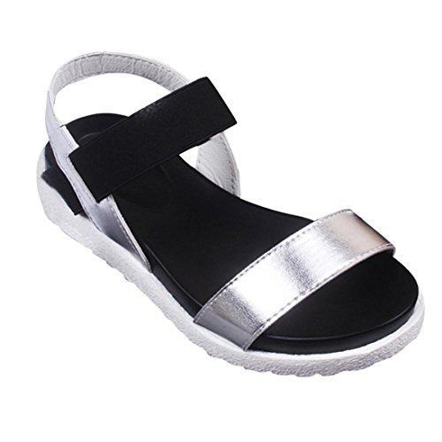 mujeres bajos de de zapatos pie las Se Sandalias Plata dedo mujer Peep flops oras flip verano de vestir FAMILIZO romanas Zapatos de Sandalias Sandalias Sandalias del 8dgwZxdq