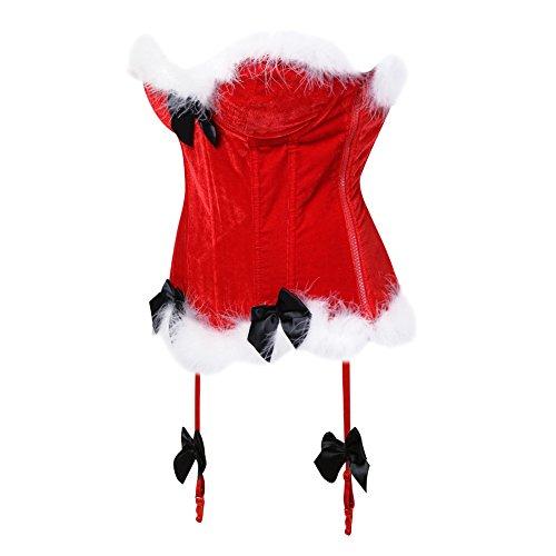 Ilyalls Women Corset Halloween Christmas Custome Lace Sexy Over Bust Waist Cincher Top Shaper Bustier