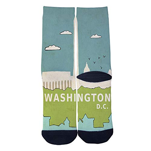 (Mens Womens Casual Washington DC Modern Travel City Poster Socks Crazy Custom Socks Creative Personality Crew Socks)