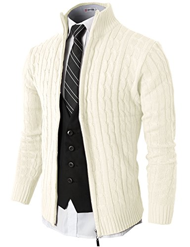 H2H Mens Slim Fit Full-zip Kintted Cardigan Sweaters with Twist Patterned  WHITE US M e616390ea