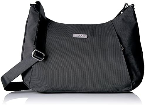 Baggallini Slim Crossbody Hobo Bag – Lightweight Roomy Purse with Zippered Pockets and Removable RFID Wristlet