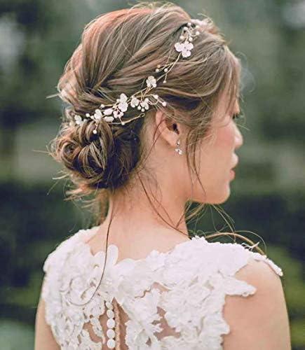 Gold cream floral hairvine #wedding #bridal #hairvine #floral #bridalhair #bridesmaidshair