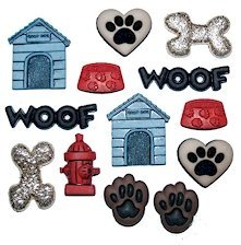 1 x Pack of Novelty Craft Buttons, Dog Stuff, Dress it up, for Sewing, Scrapbooking, Embelishments, Crafts, Knitting,