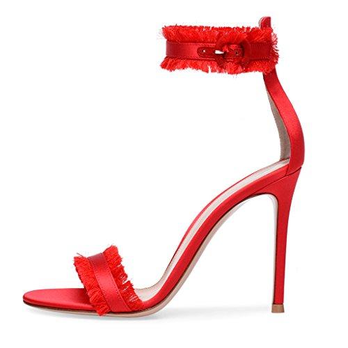 Women's Open-Toed Sardine Tassel Super High Heel Sandals Girls Elegant Dresses Party Heels (Heel Height 11CM-13CM),Red,40