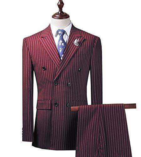 (Slim Fit Mens Suit Set 3 Piece Wedding Groomman Pinstripe Notched Lapel Tuxedos(Blazer+Vest+Pant)(42S,Burgundy))