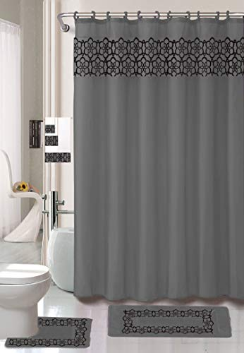 18 Piece Elegant Bathroom Set: 2-Rugs/Mats (1-Contour Rug, 1-Bath Mat) Poly Acrylic Pile Rubber Backing, 1-Fabric Shower Curtain, 12-Fabric Covered Rings, 3-Piece Decorative Towel Set -
