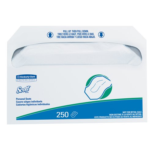 Kimberly Clark Professional SCOTT Personal Seats Toilet Seat Covers, White, Paper (250 Covers/Pack) (20 Packs) - BMC-KCC 39000