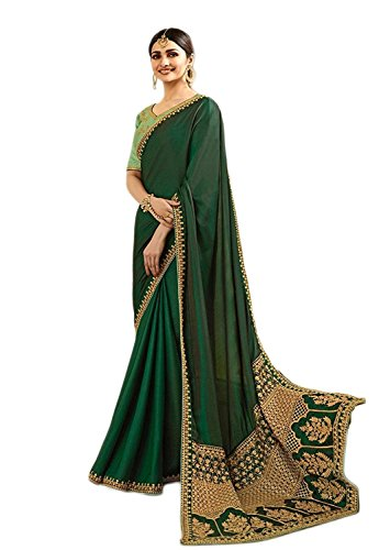 Magneitta Women's Heavy Embroidery Designer Georgette Saree With Blouse Piece Free Size Auspicious Green