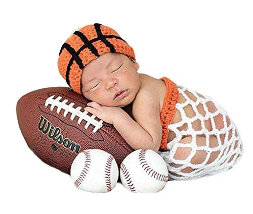 Infant Basketball Photography Props Crochet Costume Outfits Orange Hat+White Basket Outfit for 0-6 Months Newborn Baby Boy Girl -