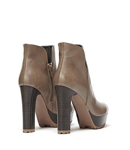 YE Damen Winter Warm Gefüttert Wildleder Nubuck High Heels Plateau Stiefel Stiletto mit Schnürung Fell 12cm Absatz Fashion Elegant Ankle Boots