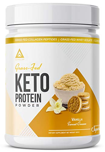 Grass-fed Keto Protein Powder: Collagen Peptides | Pure C8 MCT Oil | Irish Butter | Whey Protein Isolate | Best Ketogenic Protein Shake Supplement | by LevelUp® (Vanilla Sweet Cream)