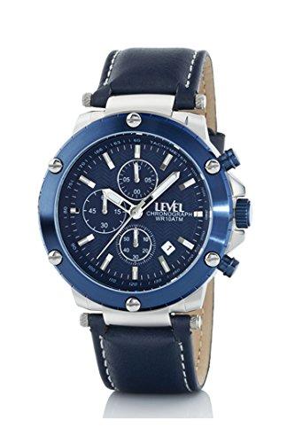 Reloj Level A35711/3 Caballero, Crono Caja acero correa azul: Amazon.es: Relojes