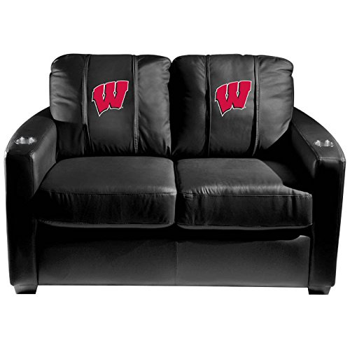 XZipit College Silver Loveseat with Wisconsin Badgers Logo Panel, Black
