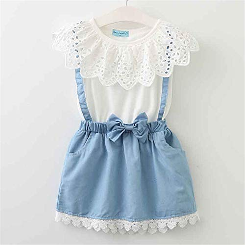 Children's Summer 2019 Casual Style Clothing White lace T-Shirt + Skirt Suit 6T]()