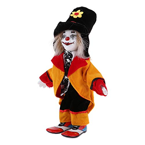 18cm Porcelain Clown Doll with Beautiful Outfit and Ceramic Face, Gift for Clown Lover or Doll Collector, Halloween Props, Home Office Decor]()