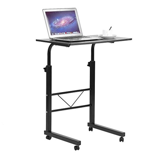 Homgrace Adjustable Height Rolling Laptop Desk Table,Computer Desk,Over Sofa Bed Table Stand for Writing, Reading (Black)
