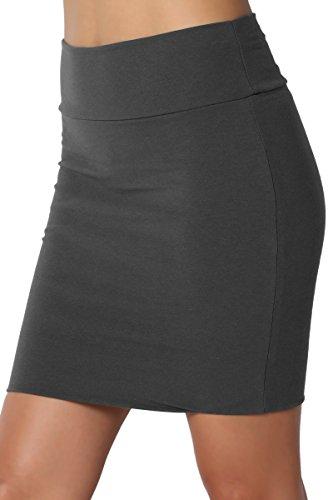 TheMogan Junior's Stretch Cotton Jersey Lined Bodycon Tube Mini Skirt Dark Grey ()