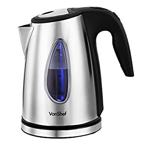 VonShef 1500W 1.7L Brushed Stainless Steel Cordless Jug Kettle