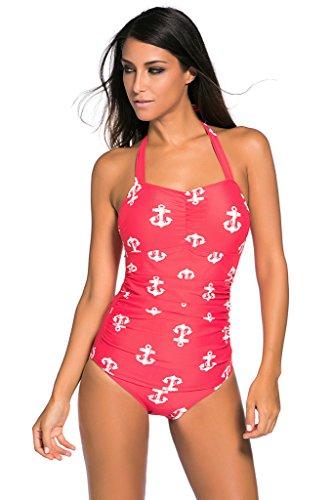 Aleumdr Women's Vintage Tankini One Piece Swimsuit Red Printings Small