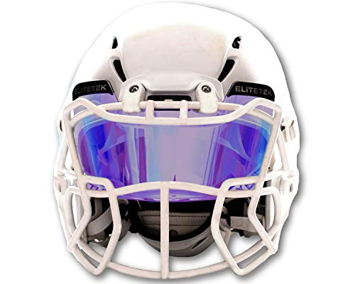 EliteTek Color Football & Lacrosse Eye-Shield Facemask Visor Universal Fits Youth & Adult Helmets (Clear Purple Rain Colored) ()