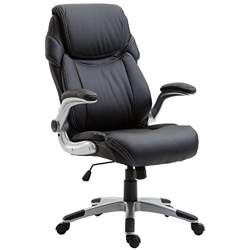 POLY & BARK EM-307-BLK Stella Executive Office Chair in Vegan Leather, Black