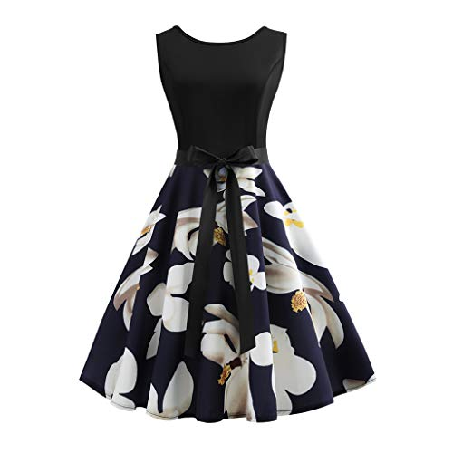 Women Vintage Dress Casual Swing Sleeveless Patchwork Floral Midi Dress with Bowknot for Work Tea Dress Blue ()