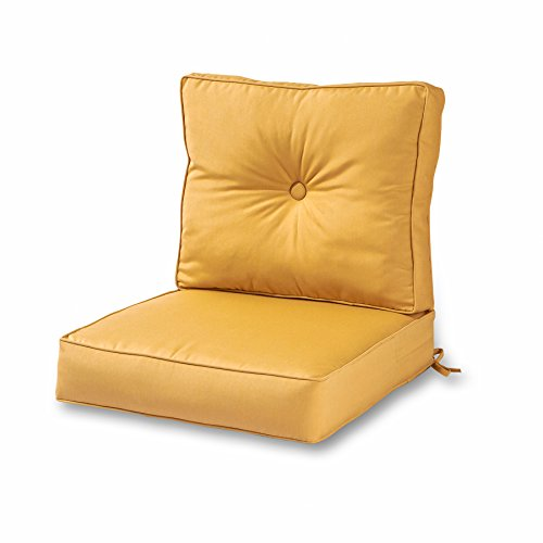 (Greendale Home Fashions Outdoor Sunbrella Deep Seat Chair Cushion Set, Wheat)