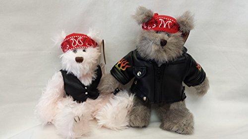 Plush Motorcycle Biker Teddy Bear 8 Inches Tall, Jointed Stuffed Animal Toy, Boy and Girl, 2 Pcs (Biker Teddy Bear)
