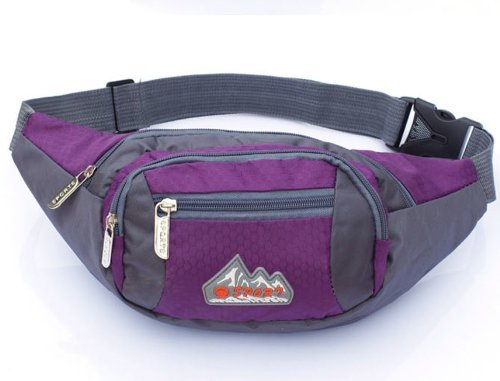 Big Mango New Fashion Womens Sports Bag 4 Zipper Pockets Waist Bag Fanny Chest Pack with Cell Phone Pouch & Automatic Umbrella & Small Personal Stuffs for Both Men and Women Use - Purple