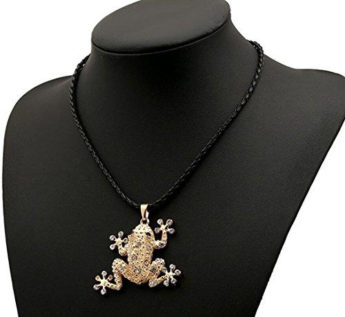 Gudeke Grenouille La grenouille CZ Diamants Chandail Collier Collier en Cuir pour Femme