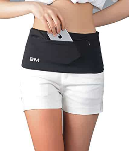 EAZYMATE Travel Money Belt - Stylish Running Belt - Large Security Pocket with Zipper Fits All phones iPhone6,7,8,X, Plus,Great for Hands-Free Traveling and Sports