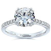 Kobelli Moissanite and Lab Grown Diamond Engagement Ring 1 3/4 CTW 14k White Gold (HI/VS, DEF/VS)