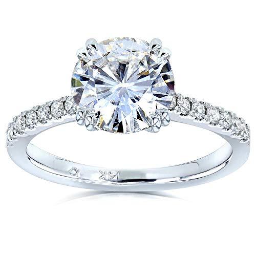 (Moissanite and Lab Grown Diamond Engagement Ring 2 1/10 CTW 14k White Gold (HI/VS, DEF/VS), 8)