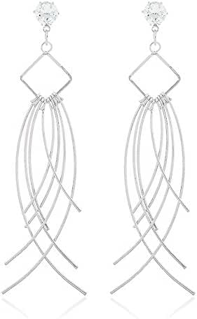 New Arrival Trendy Statement Simple Style Tassels with CZ Earrings for Womens