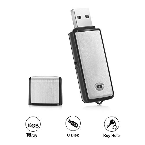 Digital Voice Recorder by Ugetde Mini Voice Recorder 16GB USB Flash Drive and Mp3 Function/170 Hours Recording Capacity Black Small Audio Dictaphone for Meetings and Transfer Files (Black Border) ()