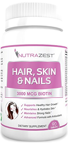 250 Mcg 90 Tabs - Nutrazest Hair, Skin & Nails Vitamins Formula (Folic Acid, Vitamins A, B, C, D, E) - Enhanced 3,000mcg BIOTIN to Reduce Hair Fall, Promote Hair Growth; Skin & Nails Health – 90 tablets
