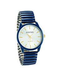 Ferenzi Unisex | Funky Silver Face Blue Expandable Stainless Steel Band Watch | FZ16302