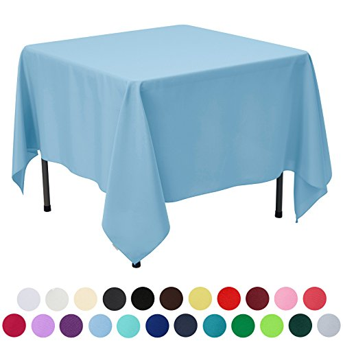 VEEYOO 85 inch Square Solid Polyester Tablecloth for Wedding Restaurant Party, Baby Blue Baby Square