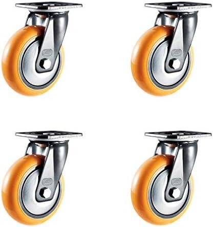 4キャスターホイールヘビーデューティユニバーサルホイールPU交換スイベルトロリー家具キャスター、ミュート、倉庫ワークショップ工場用