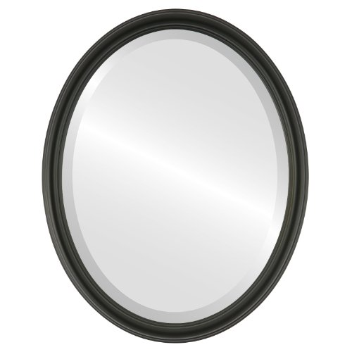 Oval Beveled Wall Mirror for Home Decor – Saratoga Style – Matte Black – 18×22 outside dimensions