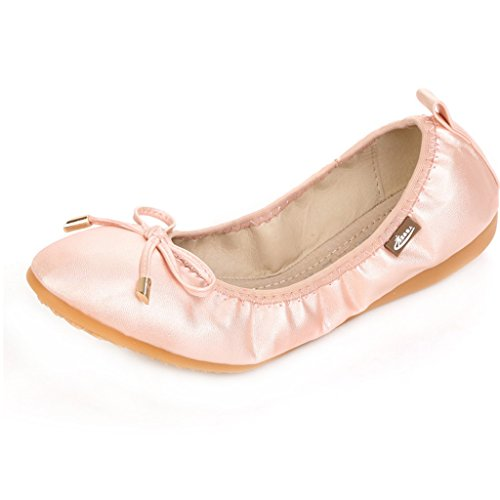 [iLory Ladies Ballet Flats Roll Up Fold Pumps After Party Shoes] (Pink Flat Ballet Pump)