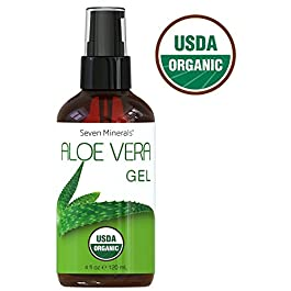 #1 USDA Organic Aloe Vera Gel – No Preservatives, No Alcohol – From Freshly Cut USA Grown 100% Pure Aloe Vera – With No Harmful Ingredients, Free of GMOs – For Healthy Skin, Face & Hair (4 fl oz)