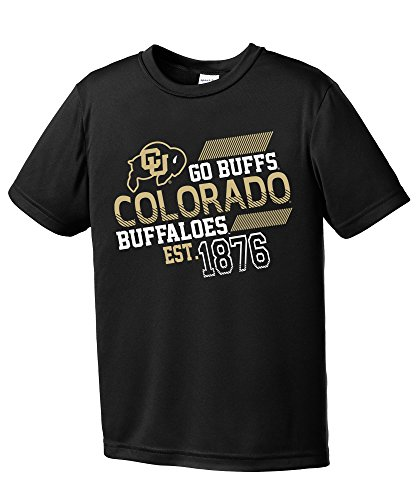 (NCAA Colorado Buffaloes Youth Boys Offsides Short sleeve Polyester Competitor T-Shirt, Youth Large,Black)