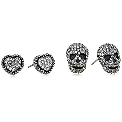 Betsey Johnson Cubic Zirconia Pave Heart and Skull Duo Set of Stud Earrings for sale