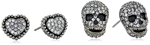 Betsey Johnson Cubic Zirconia Pave Heart and Skull Duo Set of Stud Earrings