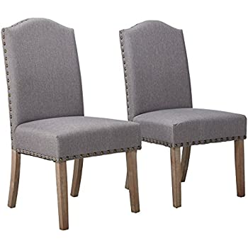 Roundhill Furniture Mod Urban Style Solid Wood Nailhead Grey Fabric Padded Parson Chair (Set of 2) Gray  sc 1 st  Amazon.com & Amazon.com - Thresholdâ