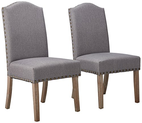 Roundhill Furniture Mod Urban Style Solid Wood Nailhead Grey