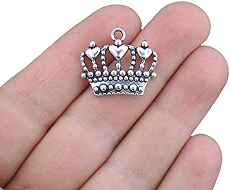 SC1703 3 Crown Charms Antique Silver Tone with Heart Accents